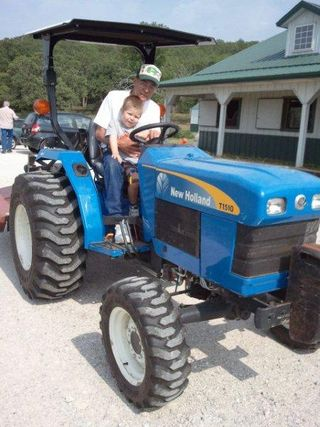 Matthew with Grandpa Tractor 2